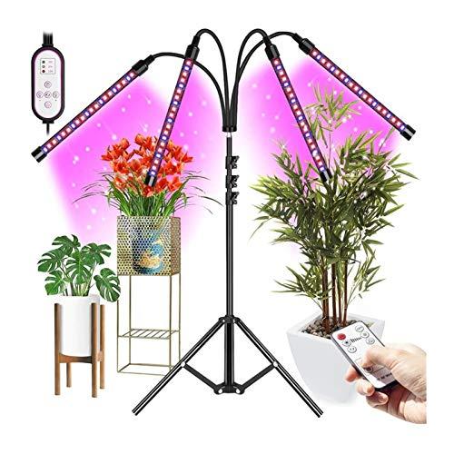 Vosda Lámpara de Planta 4 Cabezas 80 LED Lámpara de Cultivo de Plantas con Soporte Ajustable de 50 a 160 cm,Encendido/Apagado automático / 3/4/8/9/12H Temporizador y 3 Modos