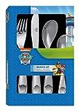 POS 29991 - Besteckset mit Paw Patrol Prägung, 4 teiliges Kinderbesteck aus rostfreiem Edelstahl, spülmaschinengeeignet, bestehend aus Messer, Gabel, großer und kleiner Löffel