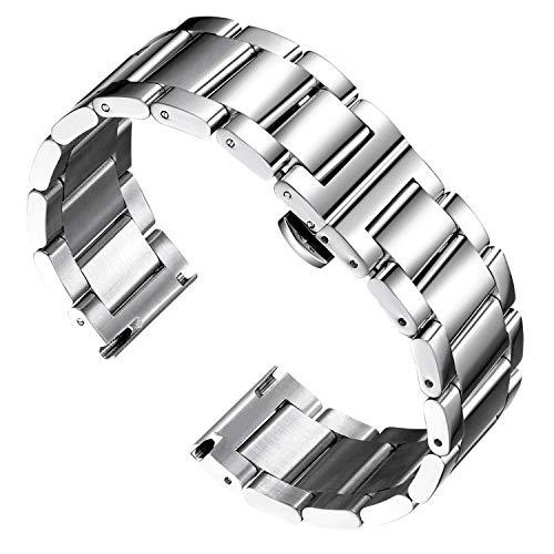 BINLUN Reemplazo de la Banda de Reloj de Acero Inoxidable Reloj de Metal Pulido Correa Sólida para Hombres Reloj de Mujer 16mm/18mm/20mm/21mm/22mm/ 23mm/24mm/26mm con Mariposa Hebilla