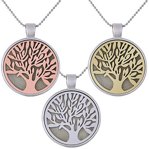 3 PCS Arbol de la Vida Colgante Collar Collar de árbol de la Vida Collar Luminoso Colgante Collares árbol de la Vida Aleación Luminoso Cadena de 23.6'' para Cumpleaños Navidad Valentín