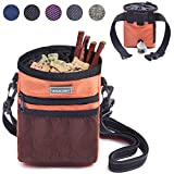 Vivaglory Dog Treat Bag, Hands Free Puppy Training Pouch with Adjustable Waistband, Reflective Shoulder Strap and Dog Waste Bag Dispenser for Training, Walks and Outings, Orange