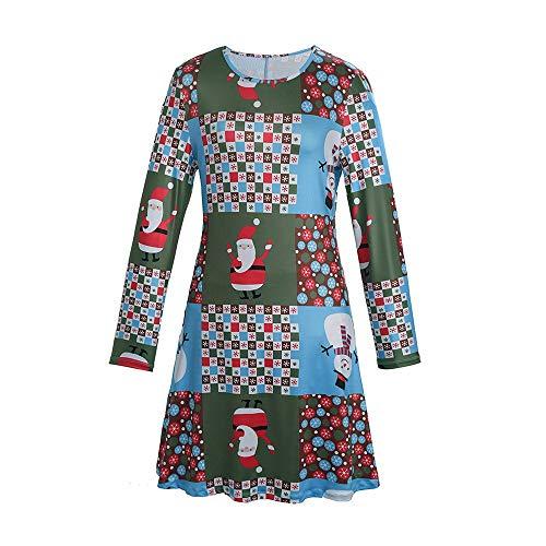 WAOTIER Otoño Midi Vestido De Gran Tamaño Santa Claus Muñeco De Nieve De Impresión De Las Mujeres Más El Tamaño Suelto Vestido De Túnica Sólido V Cuello Cóctel, azul, X-Large