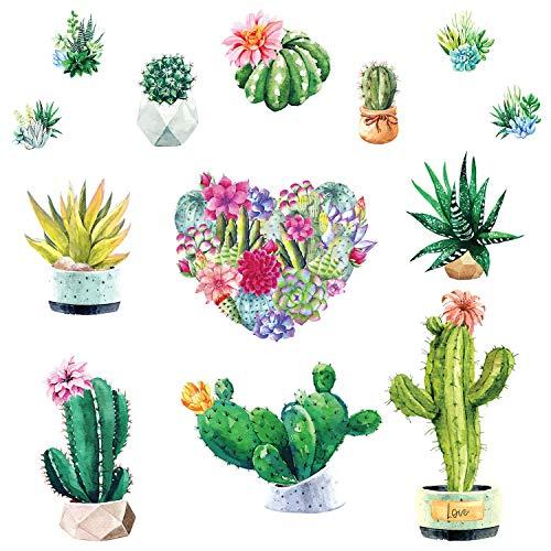 Pegatinas de Pared Cactus Acuarela Corazón Flores Calcomanía Decorativos Plantas Murales para Habitación Dormitorio Sala de Estar