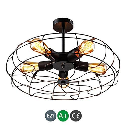 Industriële plafondlamp, vintage-stijl, flush mount plafondventilator, plafondlamp, licht metaal, ophangsysteem, verlichting met 5 lampen E27 peer zwart, binnenlamp, retro loft, slaapkamer, balkon