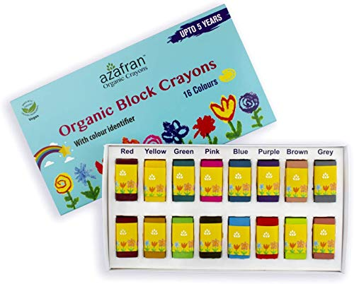 Azafran Organic Crayons Organic Block Crayons, 16 Colors Plant-Derived Ingredients, Non-Greasy, Eco Friendly, Food Grade Colors, For Toddlers, Fun With Playing and Stacking - 4.23 Ounces