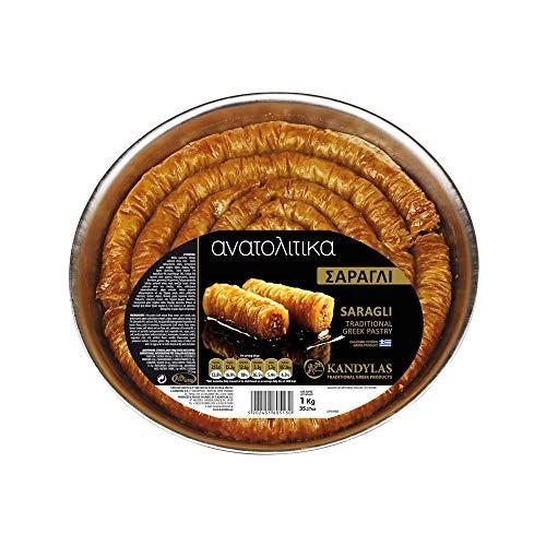 Saragli ( Baklava - Finger ) mit Nüssen und Sirup, traditionelles Griechisches Handgemachtes Gebäck, Nettogewicht 1 kg
