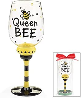 Queen Bee 16 oz Wine Glass/Goblet Adorable bumble Bee Collection