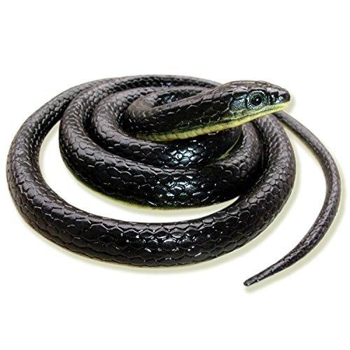 Homdipoo Realistic Fake Rubber Toy Snake Black Fake Snakes That Look Real Prank Stuff Cobra Snake 49 Inch Long