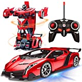 AMENON Remote Control Transform Car Robot Toy with Lights Deformation RC Car 2.4Ghz 1:18 Rechargeable 360°Rotating Stunt Race Car Toys for Kids Boys Girls Age 8 9 10 11 Year Old Toy Gifts