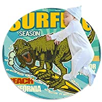 ラウンドソフトエリアラグ3Ftfor Kids Baby Girls Teen's Room Circle Nursery Rug for Bedroom Living Room Home Decor、cartoon animal dinosaur on surfing
