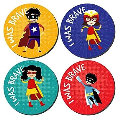 144 I Was Brave Stickers SUPER HERO Bravery Award kids nurses doctors schools by Sticker Time