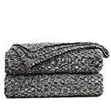 Longhui bedding Black Knitted Throw Blanket for Couch, Soft, Cozy Machine Washable 100% Cotton Sofa Cable Knit Blankets, 4.0lb Weight, 60 x 80 Inches Oversized, Black White Color