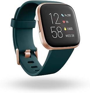 ساعة فيتبيت فيرسا 2 الذكية لمتابعة الحالة الصحية واللياقة البدنية - الزمرد / النحاس والالومنيوم باللون الزهري