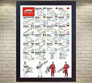 S&E DESING 2019 F1 Calendar Lewis Hamilton Bottas Sebastian Vettel Charles Leclerc Signed Autographed Photo Print Framed