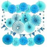 Zerodeco Decoración de la Fiesta, 21 Piezas Abanicos de Papel Bola de Nido Pom Poms Ventilador Cumpleaños Boda Carnaval Bebé Ducha Home Party Supplies Decoración (Azul)