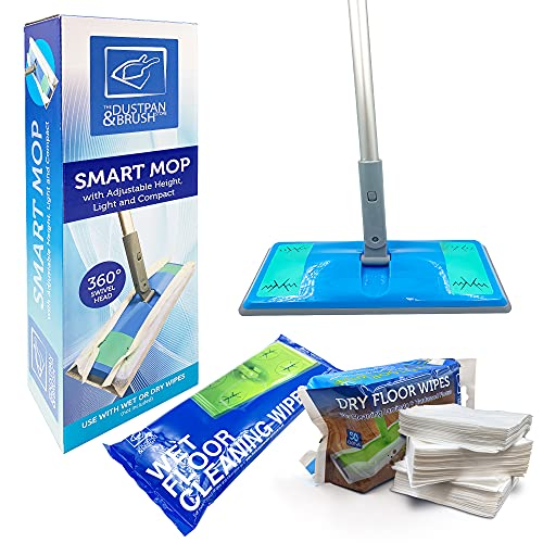 Laminate Floor Mop with Wipes - Flat Mop with Wet and Dry Floor Wipes...