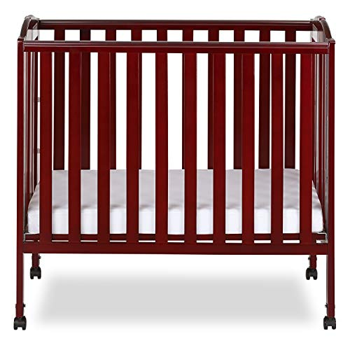 Dream On Me 3 in 1 Portable Folding Stationary Side Crib, Cherry