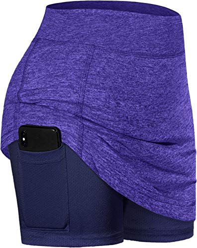 BLEVONH Swim Skirt,Ladies Wide Waist Mini Tennis Skirts for Women Light Comfort Everyday Skorts with Legging Pocket Girl Quick-Drying Sexy Swimwear Workout Gear Women Clothing Athletic Wear Purple 2XL