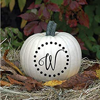 Monogram Halloween Vinyl Decals   Personalized Pumpkin Decor   Customized Letter with Circle of Dots Halloween Home Decor, Thanksgiving, or Fall Harvest Decorations