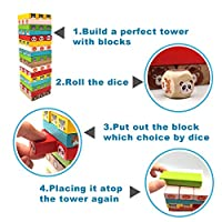 Euyecety Torre Magica Colorata, Gioco Educativo da Tavolo per Bambini, Giocattoli Impilabile Prescolari Montessori, Regalo per 3 4 5 6 7 8 9 Anni Ragazzi Ragazze, Classico Gioco per Famiglie, 54 Pezzi #3