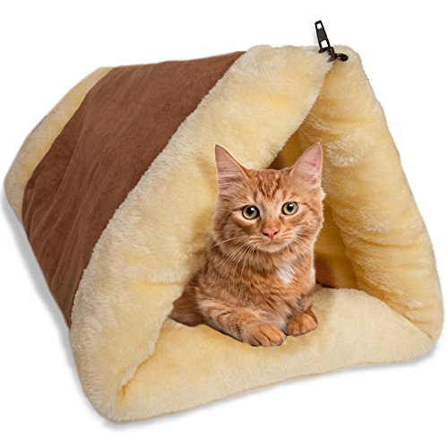 Cat Bed Cave House Bed - Beds Best for Indoor Cats Houses Heated Kitten Warm Pet Self Warming w/Hoods Caves Igloo Covered Pod Felted Faux...