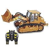 FYRMMD 1:16 RC Truck Bulldozer Dumper Caterpillar Tractor Modelo Ingeniería Coche Excavadora Empuje Tierra Música Luz (Coche de Control Remoto)