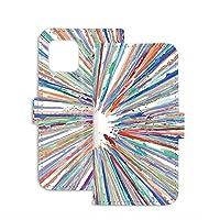 スマホケース 手帳型 ミラータイプ AQUOS sense4 (SH-41A) 用 ペイント柄・カラフル ストライプ柄 虹色 SHARP シャープ アクオス センスフォー ドコモ SIMフリー スタンド スマホカバー 携帯カバー stripe 00l_104@02m