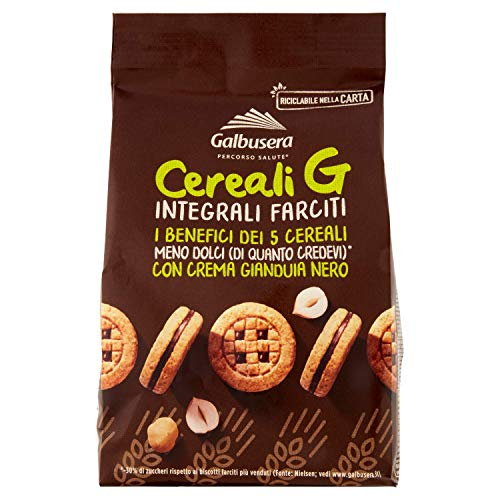 Galbusera Cereali G Integrali Farciti Vollkorn Shortbread Kekse gefüllt mit Gianduja Creme cookies biscuit 250g