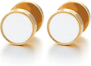 10MM Mens Women Gold Circle Stud Earrings with White Acrylic, Steel Cheater Fake Ear Plugs Gauges