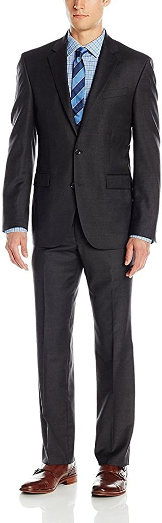 Adam Baker Men's Slim Fit Single Breasted Notch Lapel 2-Piece Solid Suit Set - Colors