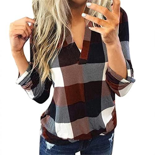 FRMUIC Women's Fashion Plaid Shirt V-Neck Long Sleeve Pullover Roll Sleeve Shirt Tunic Top T-Shirt (4X-Large, Brown)