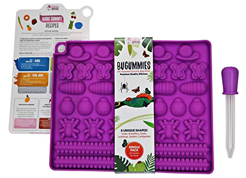 DIY Assorted BUGUMMIES Mold by Mister Gummy | PREMIUM Silicone | Gummy Bugs, Chocolate, Ice Cubes, Candy | Bug Mold + Dropper + Recipe Card + Reusable Zip Lock Bag (SINGLE PACK)