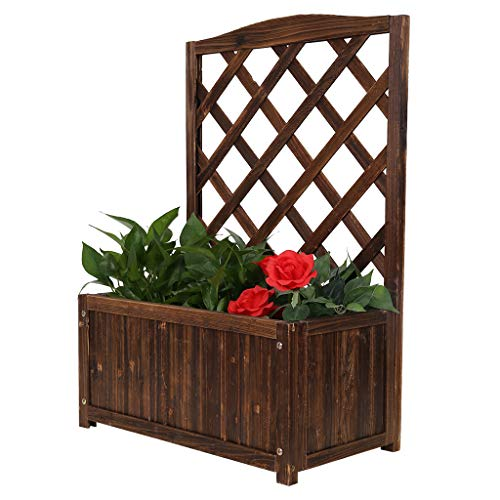 ZIPSAK Free Standing Plant Raised Bed with Trellis Wood Planter Flower Stand for Garden Or Yard