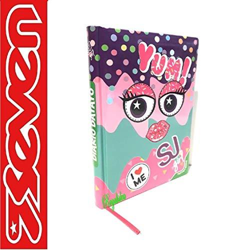 SEVEN. SJ - Agenda escolar 20 x 15 cm, colección Yum! para niña, 2021 – 2022 + llavero con lentejuelas + bolígrafo con purpurina