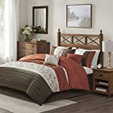 Madison Park Serene Comforter Reversible Solid Faux Silk Floral Flower Embroidered Pleated Stripes Patchwork Soft Down Alternative Hypoallergenic All Season Bedding-Set, Queen, Spice