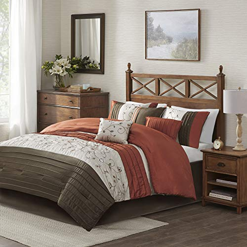Madison Park Serene Comforter Reversible Solid Faux Silk Floral Flower Embroidered Pleated Stripes Patchwork Soft Down Alternative Hypoallergenic All Season Bedding-Set, King, Spice