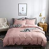 Bettwäsche 200×200cm Uni Rosa Altrosa Grau Anthrazit Microfaser Wendebettwäsche Set Doppelbett Bettbezug mit Reißverschluss und 2 Kissenbezüge 80 x 80 cm