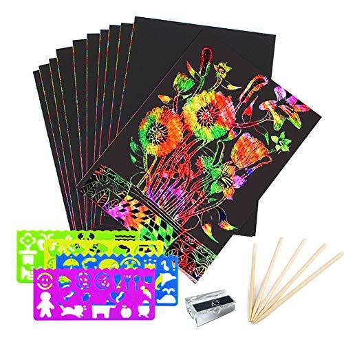 LEDM Scratch Art para niños, 50 Piezas Magic Scratch Off Paper Art 4 Reglas de Plantilla y 5 lápices de Madera 1 sacapuntas + 1 Pincel Regalo para niños