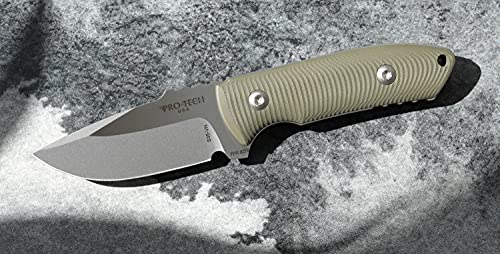 Pro-Tech SBR Fixed Blade Knife, S35VN Steel with OD Green G-10 Contoured Handles and Black Kydex Sheath