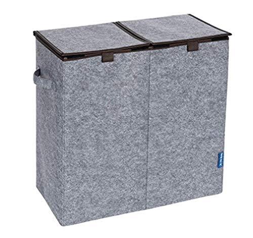 WENKO Wäschesammler Filz Duo Grau/Braun - Wäschekorb, 2 Kammern und Klappdeckel Fassungsvermögen: 82 l, Filz, 52 x 54 x 28 cm, Grau