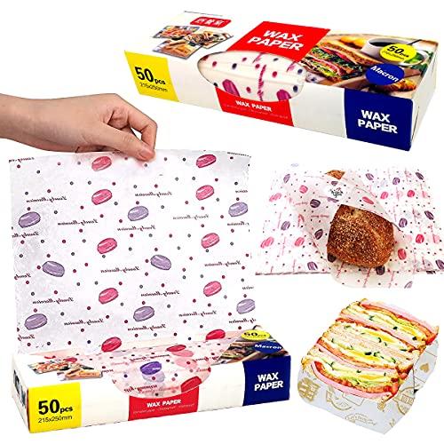 100 unidades Papel para Envolver Alimentos, 200 Piezas Hojas Envolturas de Cera de Abejas, Papel de Regalo a Prueba de Aceite, para Cocina Hamburguesa Papas Fritas Pizza Carne Empanizada (22 * 25cm)