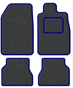 Custom Fit Tailor Made Anthracite Carpet Car Mats with Blue Trim Edging for Peugeot 207  2006 Onwards  Drivers Side Double Thickness Protection Heel Pad