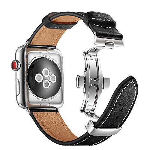ANYE Cinturino Orologio in Pelle per Apple Watch SE 44mm,Cinturino in Vera Pelle iWatch Series 6 44mm Cinturino Bracciale Apple Watch 42mm Cinturino di Ricambio iWatch Series 6/5/4/3/2/1