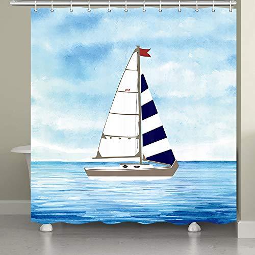 JAWO Nautischer Duschvorhang für Badezimmer, Klassische Küstendekoration, Artsy Design Boot auf blauem Meer Stoff Badezimmer Vorhang mit Duschvorhang Haken, Blau Marineblau