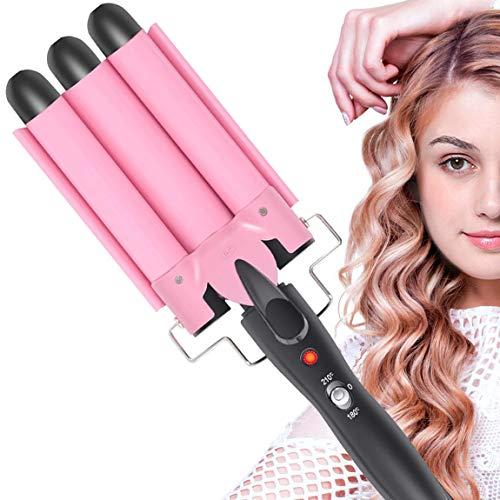 Aibeau Lockenstab 3 Dreifache Fässer lockenstäbe Haarwickelzange Hair Waver Pearl Waving Lockenwickler, Wellenstyler Turmalin Keramik Digitale Temperaturanzeige für Lange/kurze Haare