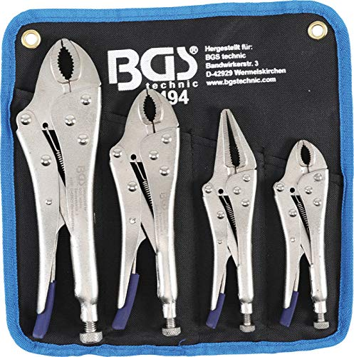 BGS 494 | Gripzangen-Satz | 4-tlg. | Gripzange 140 / 185 / 220 mm | Langbeck-Gripzange 175 mm | inkl. Tasche