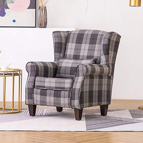 Warmiehomy Wing Back Armchair Fabric Tartan Fireside Accent Chair with Solid Wood Legs for Living Room Bedroom Reception Contemporary (Grey)