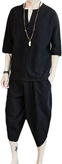 Men's 2 Piece Loose Cotton Linen Sleeveless Shirt and Pants Set
