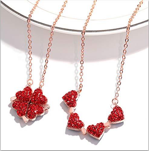 Cathercing Kristal Hart Hanger Ketting voor Vrouwen Liefde ketting voor Vriendin Verjaardag Valentijnsdag Kerstcadeau met Leuke Lucky Klaver red rose gold