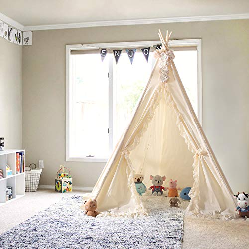 Mlian Cotton Canvas Teepee Tent – 7 Feet Super Large, for at Least 2 Kids...